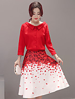 Sign 2017 new petal red shirt printed skirt dress two