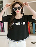 Going out Casual/Daily Holiday Simple Cute T-shirt,Floral Round Neck Short Sleeve White Black Cotton