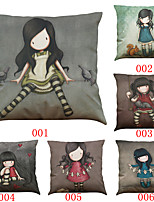 Set of 6 Lonely girl pattern   Linen Pillowcase Sofa Home Decor Cushion Cover (18*18inch)