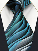 Y23 Men's Neckties Green Geometrical Stripes 100% Silk Business New Casual Classic
