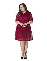 Damen Spitze Kleid-Übergröße Retro Solide Hemdkragen Knielang Kurzarm Polyester Frühling Sommer Hohe Hüfthöhe Mikro-elastisch Mittel
