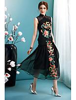 Для женщин На выход Вечеринка/коктейль Праздник Богемный Уличный стиль С летящей юбкой Платье Цветочный принт,Воротник-стойкаСредней
