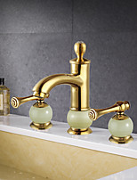 Antique Widespread Widespread with  Ceramic Valve Two Handles Three Holes for  Ti-PVD , Bathroom Sink Faucet
