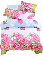 Duvet Cover Sets 4 Piece Polyester 3D Reactive Print Polyester Queen 1pc Duvet Cover 2pcs Shams 1pc Flat Sheet