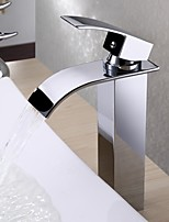 Contemporary Art Deco/Retro Modern Centerset Waterfall Thermostatic Rain Shower with  Ceramic Valve Single Handle One Hole for  Chrome ,