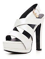 Women's Sandals Spring Summer Fall Club Shoes Cowhide Wedding Party & Evening Dress Chunky Heel Buckle
