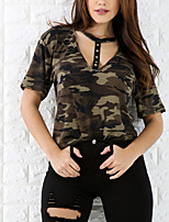 Women's Going out Casual/Daily Sexy Street chic All Match Fashion Summer Fall T-shirtCamouflage Deep V  Length Sleeve Polyester Medium
