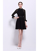 Women's Going out Club Simple Street chic A Line Dress,Solid Stand Above Knee ¾ Sleeve Cotton Nylon Spring Summer Mid Rise Inelastic