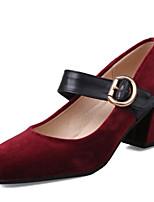 Tacón Robusto-Confort Zapatos del club-Tacones-Oficina y Trabajo Vestido Informal-Vellón Semicuero-Negro Rosa Rojo