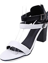 Sandals Spring Summer Light Soles Leatherette Casual Chunky Heel Brown White