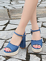 Women's Heels Summer Club Shoes Fabric Dress Chunky Heel Block Heel Buckle Blue