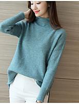 Women's Casual/Daily Simple Regular Cardigan,Solid Green Purple Turtleneck Long Sleeve Polyester Spring Fall Medium Micro-elastic