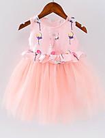 Vestido Chica de Un Color Algodón Sin Mangas Verano Primavera