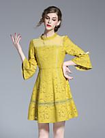 Trapèze Robe Femme Sortie simple,Couleur Pleine Col Arrondi Au dessus du genou Manches ¾ Jaune Polyester Printemps Eté Taille NormaleNon