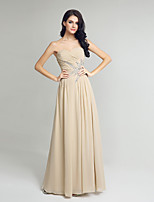 Formal Evening Dress Sheath / Column Sweetheart Floor-length Chiffon with Beading Side Draping
