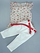 Girl's Cotton Fashion And Lovely Europe And The United States Pure And Fresh Small Broken Flower Jacket  Pants  Belt Three-piece Suit