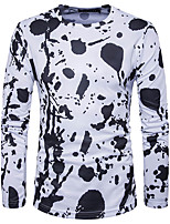 Herrn Druck Einfarbig Einfach Lässig/Alltäglich T-shirt,Rundhalsausschnitt Frühling Sommer Langarm Weiß Lila Baumwolle Mittel