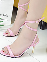 Heels Summer Club Shoes Patent Leather Dress Stiletto Heel Buckle Black Pink White