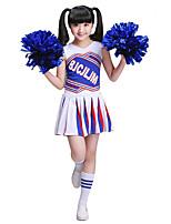 Fantasias para Cheerleader Roupa Crianças Para Meninas Actuação Algodão Recortes 2 Peças Sem Mangas Natural Saia Topo
