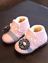 Baby Flats Winter First Walkers Leatherette Outdoor Casual Low Heel Magic Tape White Dark Blue Pink Walking