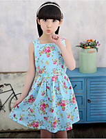 Girl's Solid Floral Dress,Cotton Summer Spring Sleeveless