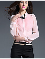 Women's Work Simple Shirt,Solid V Neck Long Sleeve Pink White Black Silk