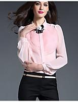 Chemise Femme,Couleur Pleine Travail simple Manches Longues Col en V Rose Blanc Noir Soie