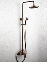 Antik Duschsystem Regendusche Breite spary with  Keramisches Ventil Einzigen Handgriff Zwei Löcher for  Antikes Messing , Duscharmaturen