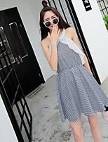 Sign strapless waist dress 2016 Korean Slim plaid cotton dress