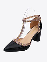 Heels Summer Club Shoes Leatherette Outdoor Office & Career Party & Evening Chunky Heel Beading Black White Gray Walking