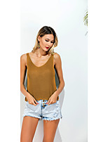 Damen Solide Sexy Einfach Street Schick Ausgehen Lässig/Alltäglich Urlaub T-shirt,V-Ausschnitt Sommer Ärmellos Baumwolle Polyester