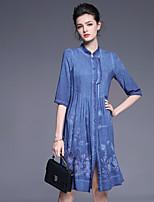 Ample Robe Femme Sortie Mignon,Broderie Mao Au dessus du genou ½ Manches Bleu Rouge Coton Lin Printemps Eté Taille Normale Micro-élastique