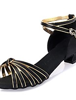 Kids' Dance Shoes Latin shoes  Satin Leatherette  Black / Gold L50