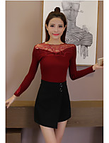 Sign fall and winter clothes Korean version of Slim lace knit shirt ladies wild long-sleeved sweater bottoming shirt