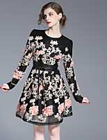 FRMZ Women's Casual/Daily Cute A Line DressFloral Round Neck Above Knee Long Sleeve Black Polyester Spring Summer Mid Rise Inelastic Medium