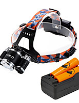 U'King® ZQ-G808S#-EU 3 * CREE XML-T6 6000LM 4Mode Zoomable Headlamp Kit with 2*18650 Battery and Charger