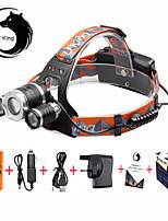Torce frontali LED 6000 Lumens 3 Modo Cree XM-L T6 18650 Messa a fuoco regolabile CompattaCampeggio/Escursionismo/Speleologia Uso
