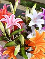 1 Branch Plastic Lilies Floor Flower Artificial Flowers Random Color