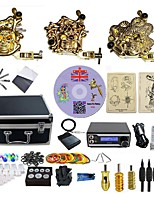 Complete Tattoo Kit 3  Machines Golden armor With LED Dual Digital Power Supply  liner & shader
