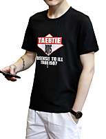 Men's Casual/Daily Beach Sports Vintage Simple Street chic Summer T-shirt,Solid Letter Round Neck Short Sleeve White BlackCotton