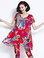 Sign 3608 # 2017 summer spandex printed short-sleeved two-piece European goods fashion Korean casual pants suit