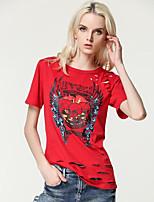 Tee-shirt Femme,Imprimé Décontracté / Quotidien Vacances Mignon Chic de Rue Printemps Eté Manches Courtes Col Arrondi Rouge Noir Coton Fin