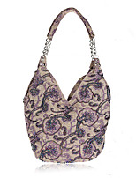 L.WEST Women's fashion pastoral style beaded bag handmade linen linen bag