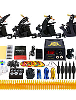 Complete Tattoo Kit 4 Pro Machine Power Supply Foot Pedal Needles Grips TK457