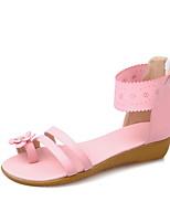 Sandalen-Outddor Kleid Lässig-PU-Flacher Absatz-Komfort Leuchtende Sohlen-Blau Rosa Weiß