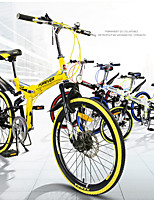 Mountain Bike Folding Bike Cycling 7 Speed 20 Inch Double Disc Brake Suspension Fork Soft-tail Frame Steel Frame Folding SteelYellow