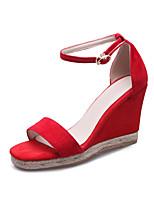 Sandalen-Büro Kleid Party & Festivität-Kaschmir-Keilabsatz-Club-Schuhe-Schwarz Rot