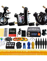 Complete Tattoo Kit 3 Pro Machine Power Supply Needle Grips Tips TK356