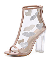 Femme-Habillé-Amande-Gros Talon Block Heel-chaussures Transparent-Sandales-Gomme
