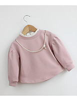 Casual/Daily Solid Blouse,Cotton Summer Fall Long Sleeve Regular